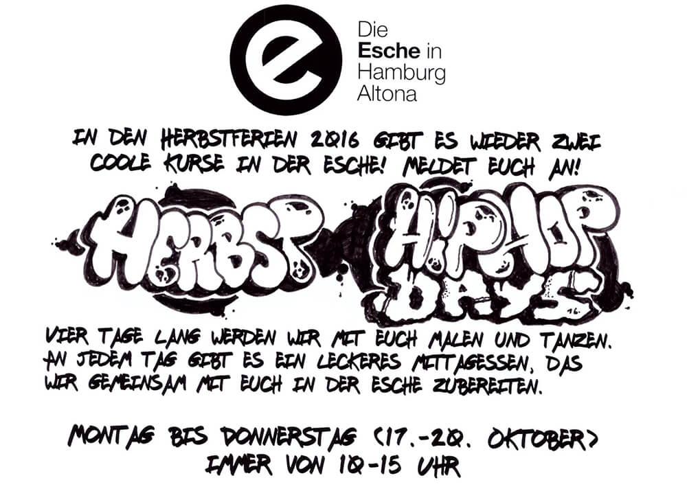Herbstferien Esche Jugendkunsthaus Newstyle Tanz Graffiti