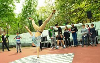 Happy Silbersack auftritt Fresh Rockers Kingstylez Breakdance Tanz Jugendkunsthaus Esche
