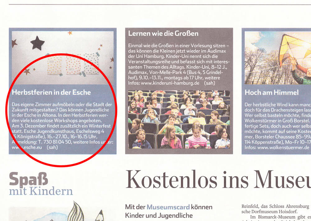 Hamburger Abendblatt Herbstferien 2017 Esche Jugendkunsthaus
