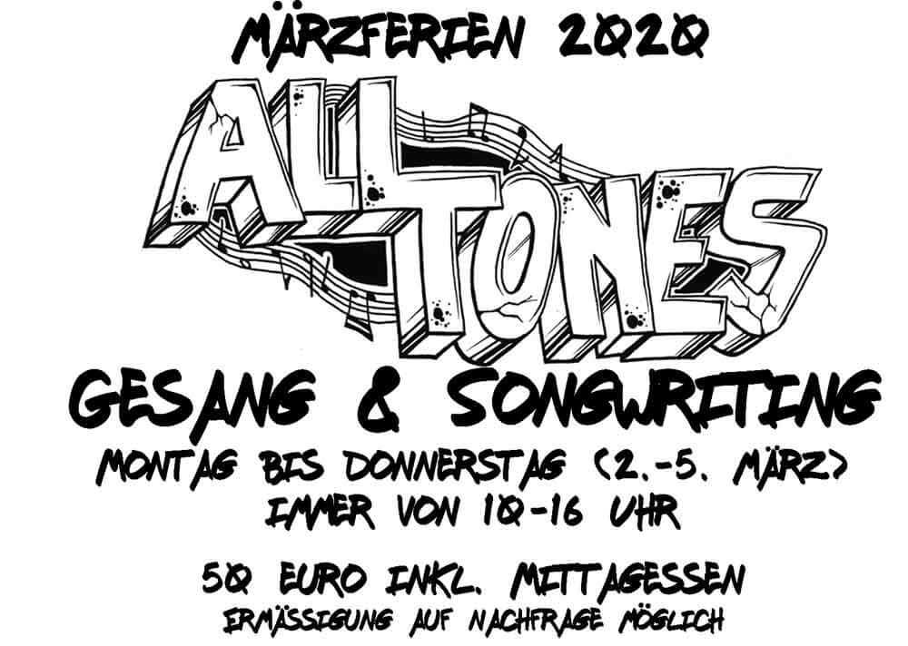 Märzferien 2020 Ferienprogramm All Tones Gesang Esche Jugendkunsthaus